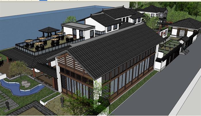 某新中式风格养生会所建筑设计方案su模型(2)图片