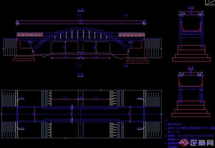 某现代画法中承式资料CAD施工图风格cad铁链拱桥图片