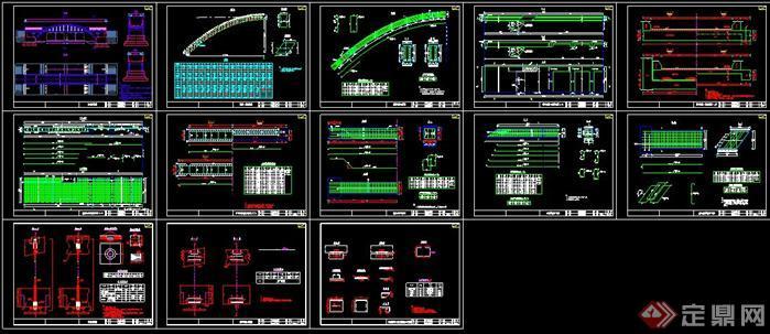 某现代资料中承式拱桥CAD施工图风格42u机柜cad图纸图片