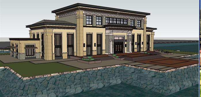 某新中式豪华滨湖会所建筑设计方案su模型(2)图片