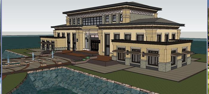 某新中式豪华滨湖会所建筑设计方案su模型(3)图片