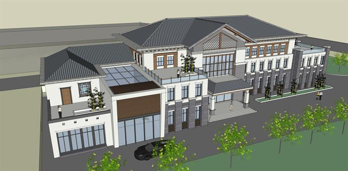 某新中式风格办公建筑方案设计su模型设计图片