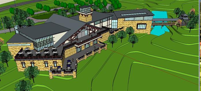 某欧式风格山地商业建筑方案规划设计su模型[原创]