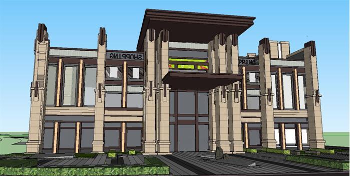 某新古典商业会所中心建筑设计方案su模型(2)