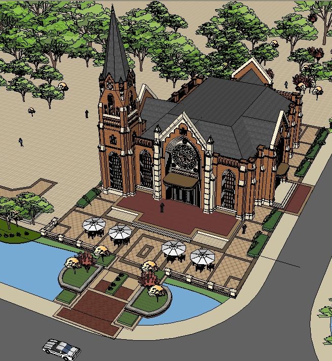 某欧式风格教堂文化展览馆建筑方案设计su模型[原创]