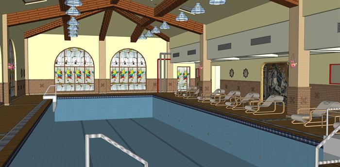 某欧式室内泳池会馆建筑设计方案su模型[原创]