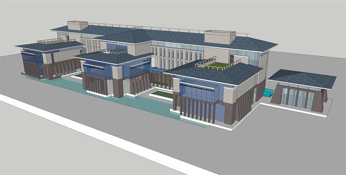 某中式风格旅游景区接待区建筑方案设计su模型