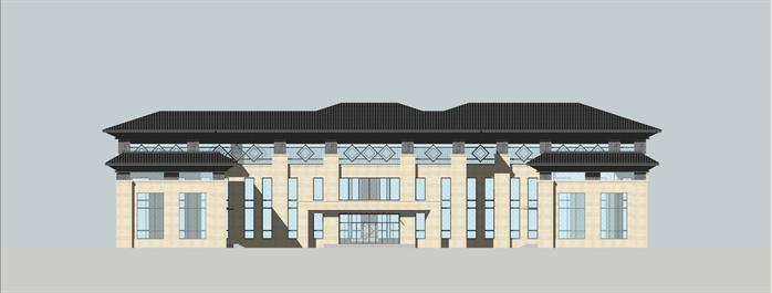某新中式风格旅游景区接待中心建筑方案设计su模型图片