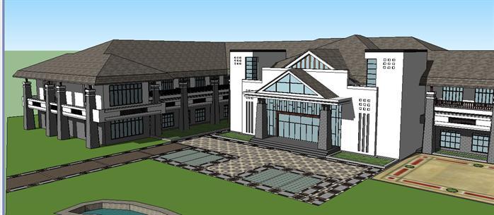 某新中式商务会所建筑设计方案su模型(4)图片