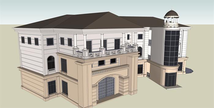 某欧式风格私人商业居住建筑方案设计su模型[原创]