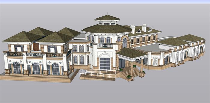 某英式风格商业会馆建筑方案设计su模型