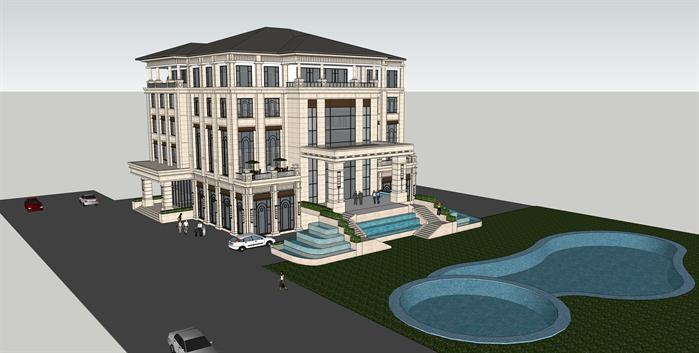 某欧式四层豪华会所建筑设计方案su模型(1)
