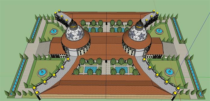 某欧式风格酒店庄园会所建筑方案设计su模型