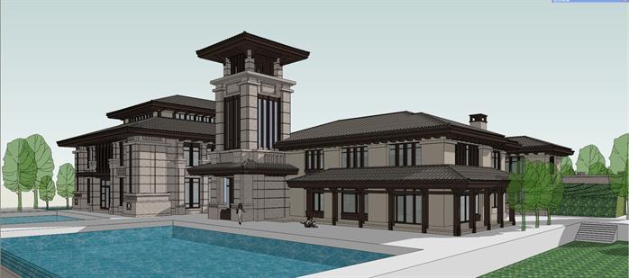 某新中式风格度假酒店会所建筑方案设计su模型[原创]图片