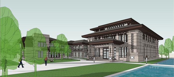 某新中式风格度假酒店会所建筑方案设计su模型图片