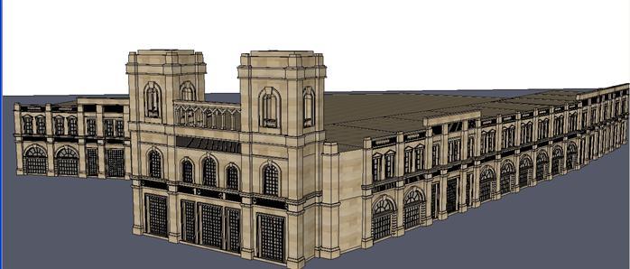 某新古典风格沿街商铺建筑设计方案su模型 3