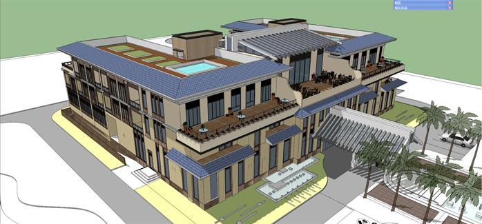 某现代中式风格商业会馆会所建筑方案设计su模型