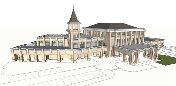某欧式风格商业会所建筑方案su模型设计