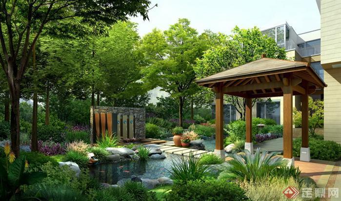 林景观之新中式庭院花园水池 景亭效果图 PSD格式