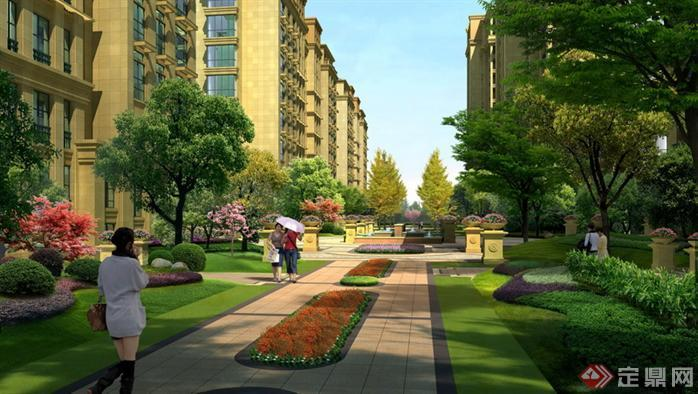 园林景观之新古典小区景观道路设计方案效果图 PSD格式