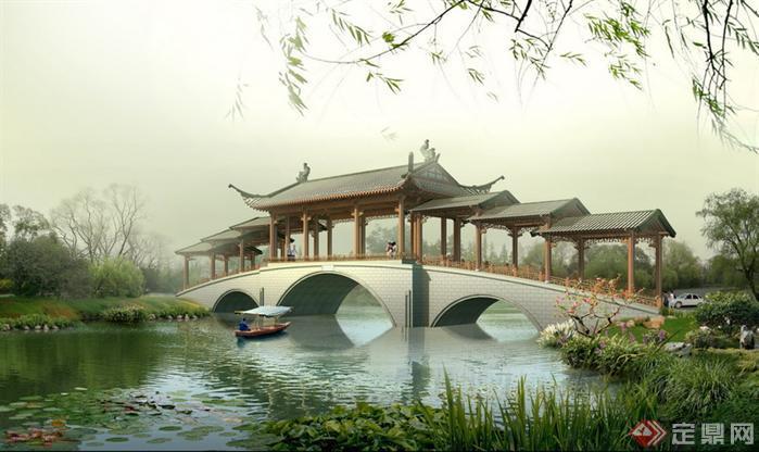 某古典中式风格拱桥木质古建长廊公园景观设效果图PSD