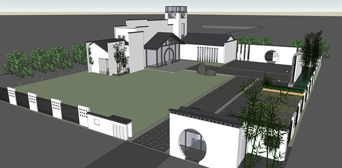 某新中式风格办公书院建筑方案设计su模型(含景观)