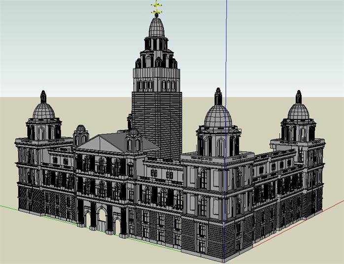 某欧式风格城堡酒店建筑方案设计su模型[原创]