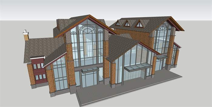 某简约欧式风格商业会所售楼处建筑方案设计su模型