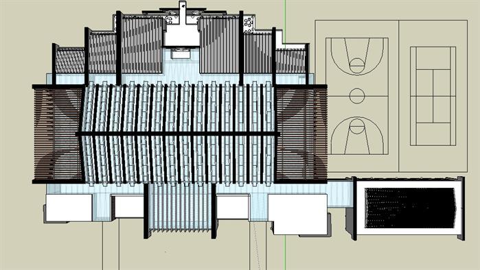 某现代中式风格艺术文化展览馆建筑方案设计su模型