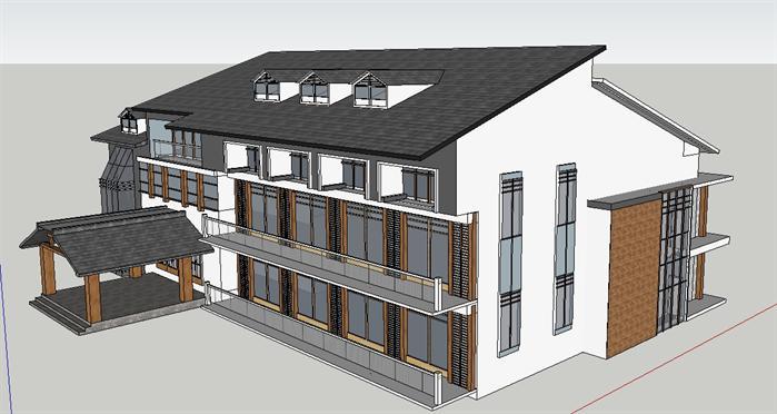 某新中式宿舍楼建筑设计su模型[原创]