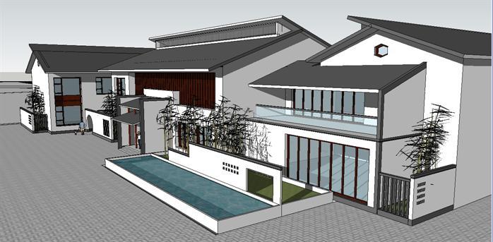 一个中式民俗博物馆建筑su设计模型(1)