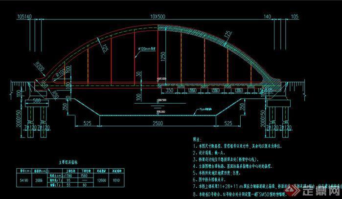 某拱桥小型桥梁建筑设计cad桥型布置图