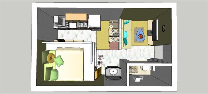 单身公寓室内平面设计图展示