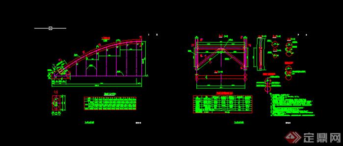 某现代中式枕头拱桥小型风格CAD施工图cad桥梁怎么画图片