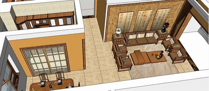 某中式風格住宅室內裝飾su設計模型[原創]