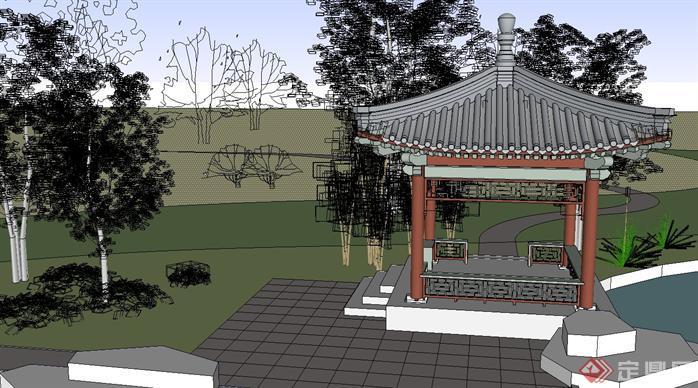 某古典园林景观规划设计方案 亭子详细su模型