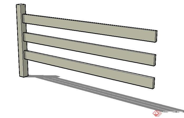 一个木质围栏的su模型素材