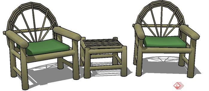 一套木质桌椅su设计模型素材