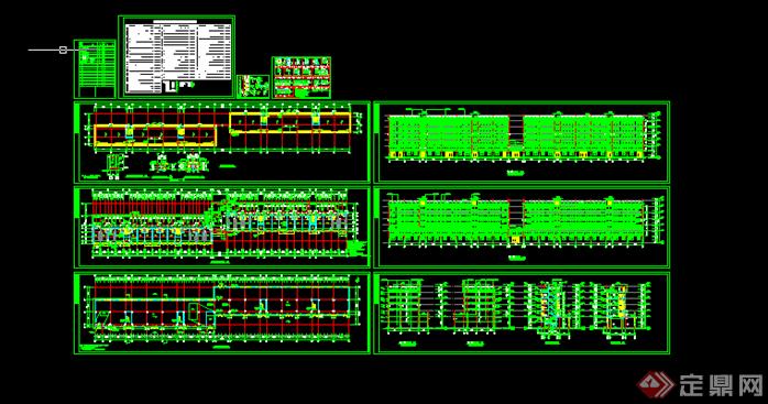 某现代风格员工宿舍楼建筑方案设计CAD图纸