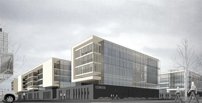 某现代风格工业产业园区建筑方案设计su模型图片