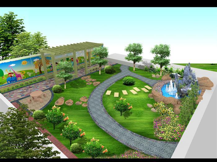 某现代风格小庭院园林景观设计效果图