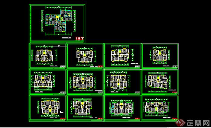 某现代风格小区户型平面图方案设计CAD图纸