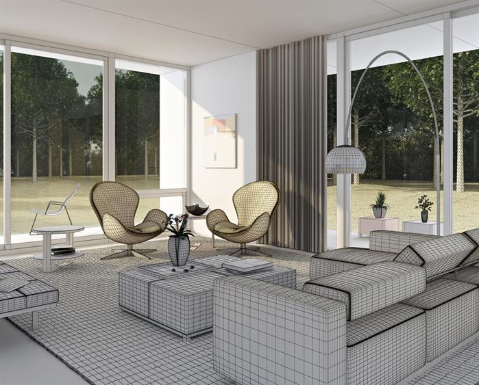某现代风格别墅室内黄昏效果表现3DMAX与效果图