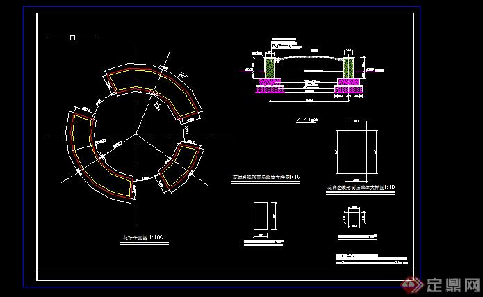 某现代风格道路交叉口交通岛绿化设计CADcad是教育版图片