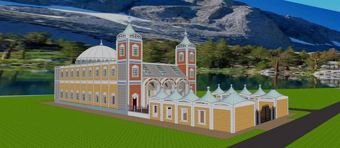 某清真寺建筑设计方案su模型(1)
