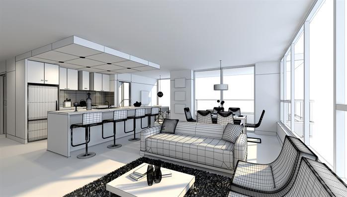 某现代风格室内装饰客厅设计方案3dmax模型与效果图 1
