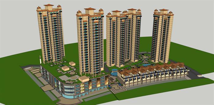 某欧式高层商住小区建筑与景观设计方案SU模型,该模型设计精美细致,细节处理得当,材质处理较好,风格是欧陆式风格,是比较好的住宅楼建筑及小区景观模型设计方案。