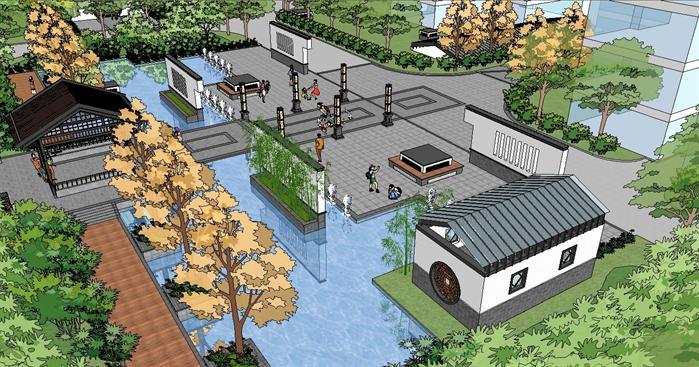 经典中式小区景观设计方案su精致模型(1)