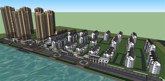休宁某新中式别墅建筑,高层小区住宅楼,商业街建筑设计方案su模型(1)图片