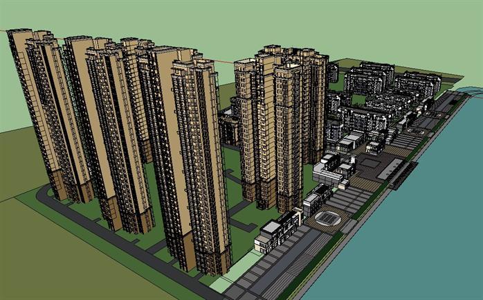 休宁某新中式别墅建筑,高层小区住宅楼,商业街建筑设计方案su模型(2)图片